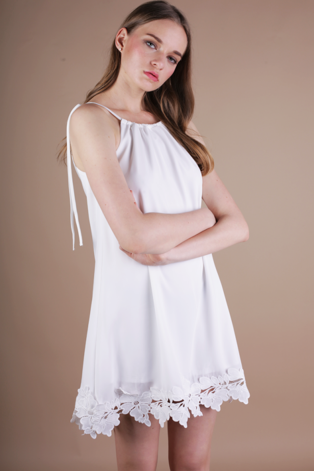 Laine Crochet Dress (White)