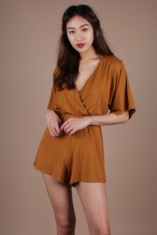 Bass Wrap Front Romper (Camel)