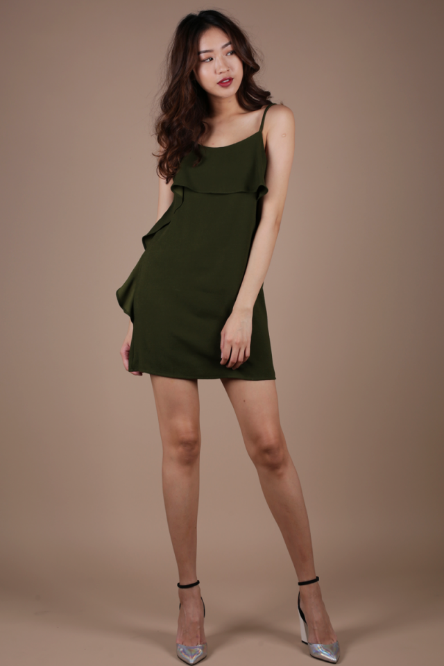 Alexi Ruffles Mini Dress (Olive)