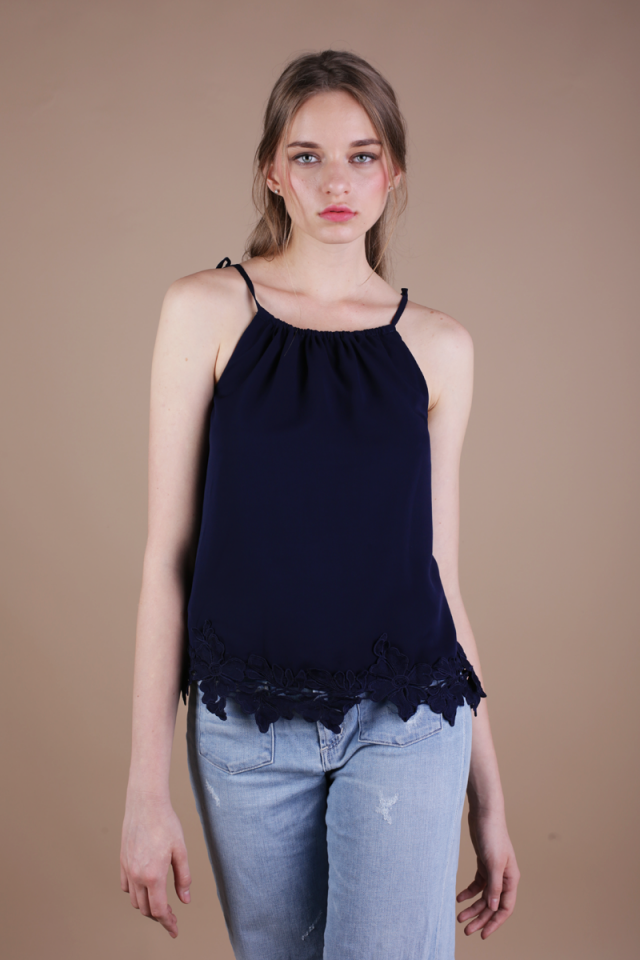 Laine Crochet Top (Navy)