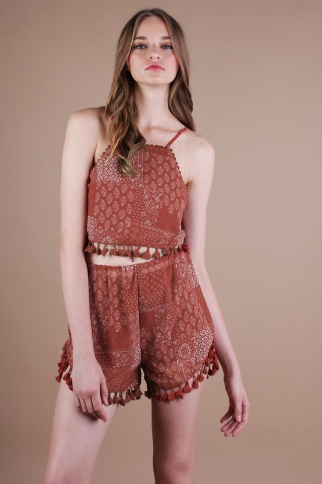 Finn Tassel Shorts (Rust)