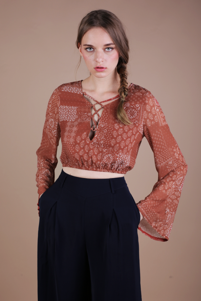 Heidi Bell Sleeve Top (Rust)