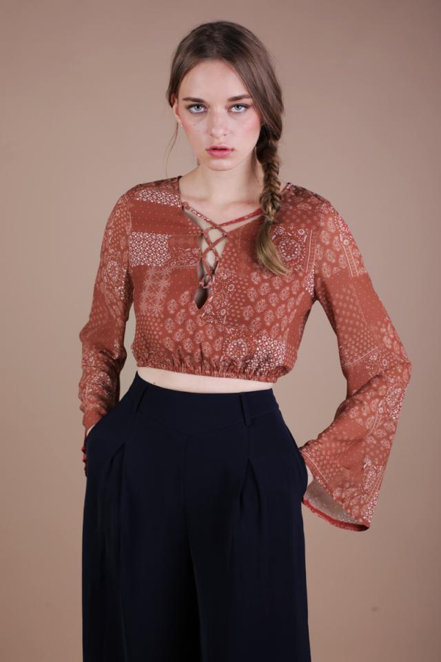 Heidi Bell Sleeve Top (Rust)