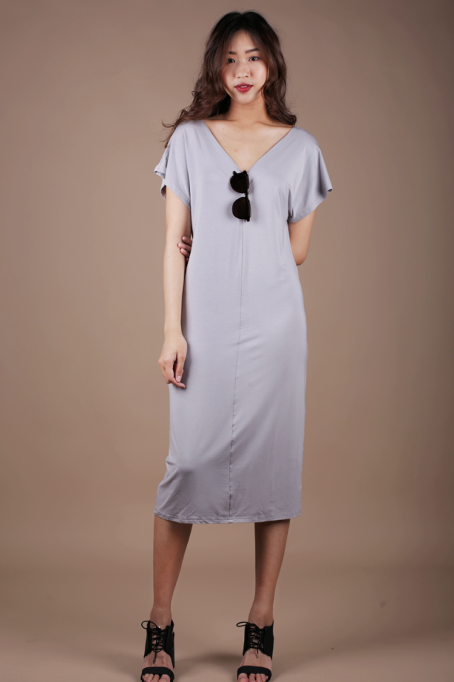 Vena Basic Sleeved Dress (Light Grey)