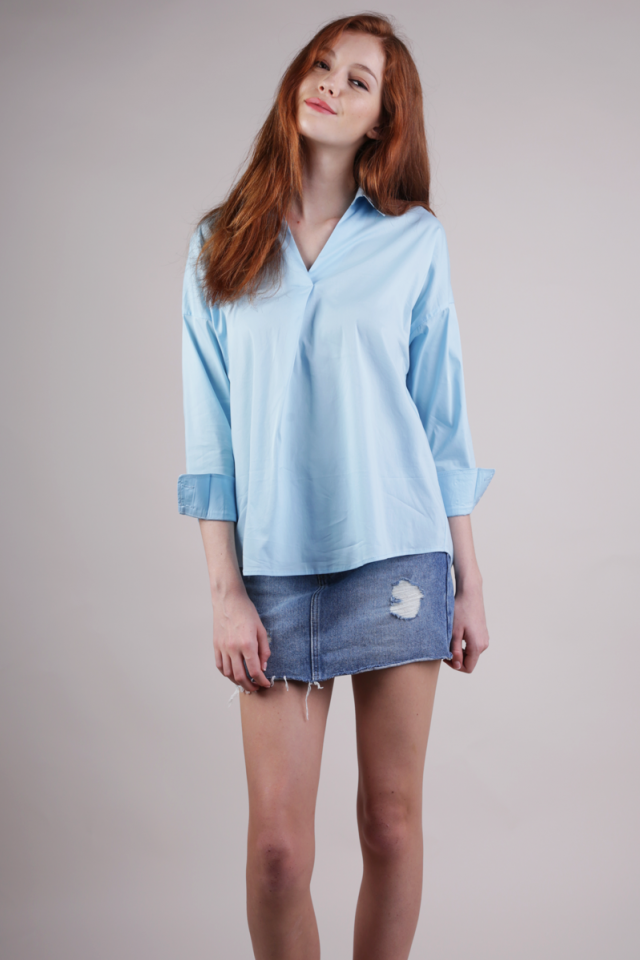 Brooke Slouchy Shirt (Sky Blue)