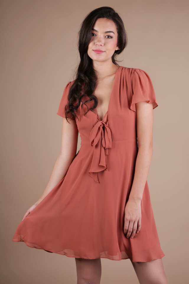 Tula Tie Front Dress (Terracotta)