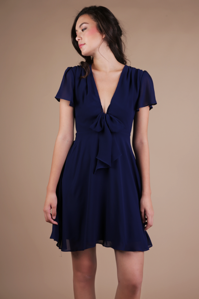Tula Tie Front Dress (Navy)
