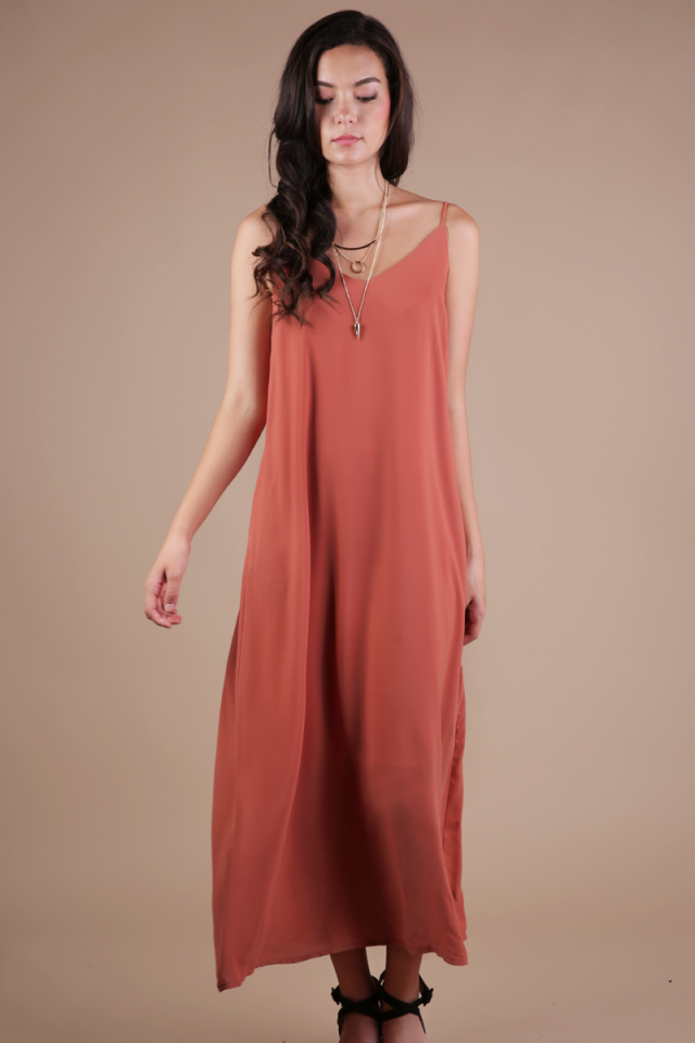 Faye Maxi Dress (Terracotta)