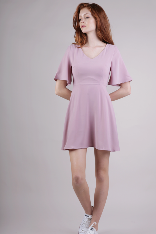 Xane Flare Sleeve Dress (Mauve Pink)