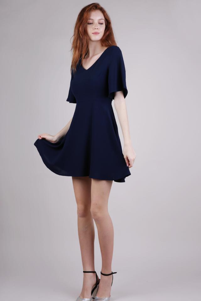 Xane Flare Sleeve Dress (Navy)
