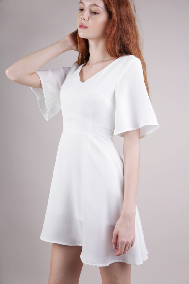 Xane Flare Sleeve Dress (White)