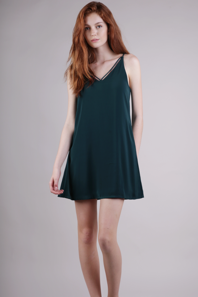 Kelsey Slip Dress (Forest Green)