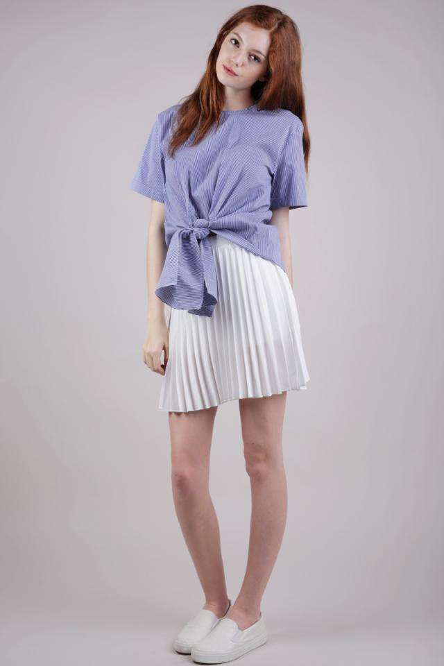 Susy Tie Front Blouse (Blue Stripes)