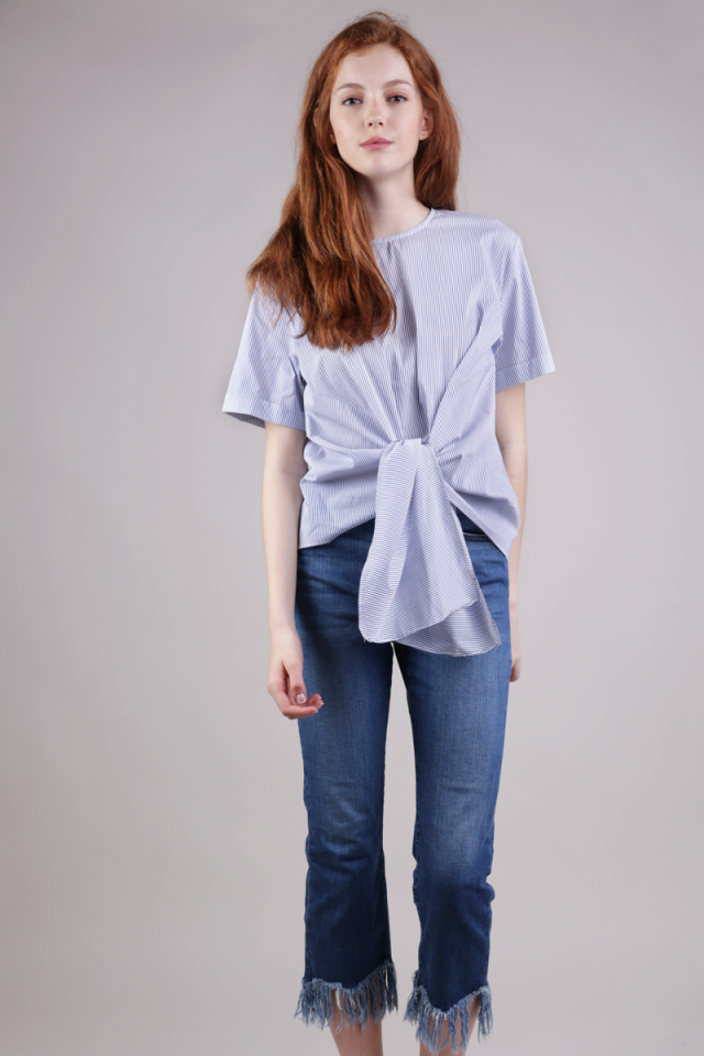 Susy Tie Front Blouse (White Stripes)