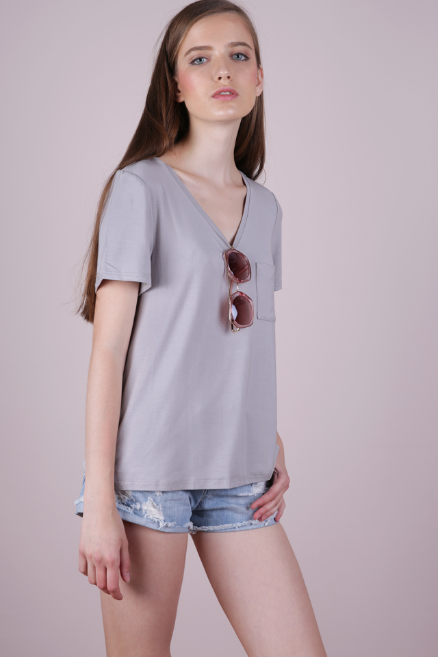 Saint Basic V Neck Tee (Grey)