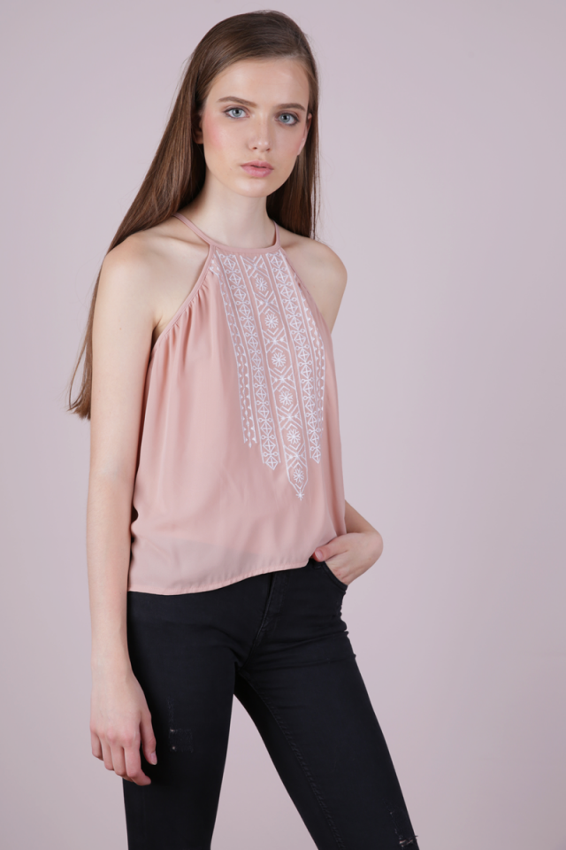 Burt Embroidery Top (Pink)