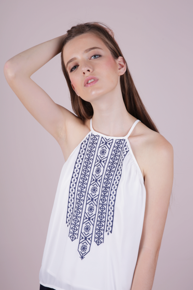 Burt Embroidery Top (White)