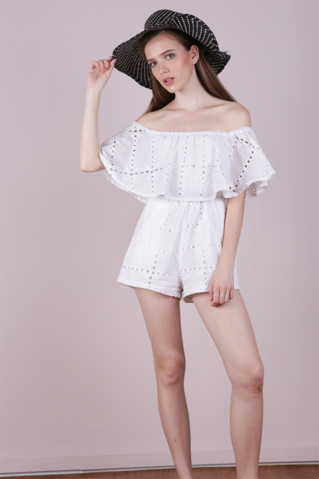 Cali Eyelet Off Shoulder Romper (White)