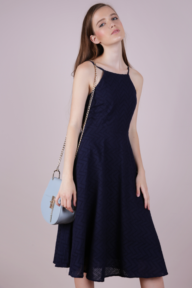 Gin Eyelet Midi Dress (Navy)