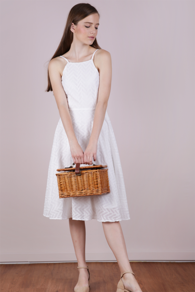 Gin Eyelet Midi Dress (White)
