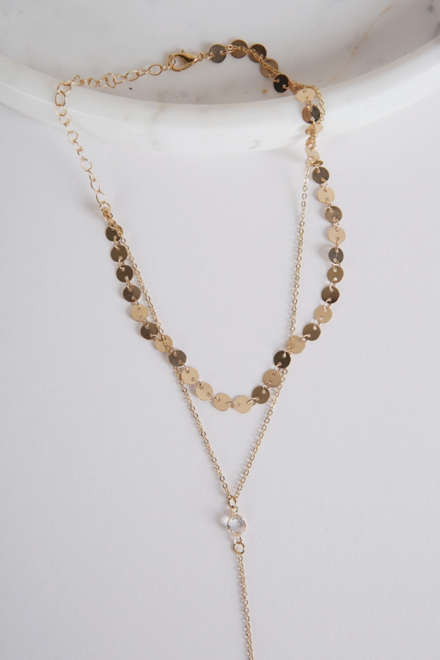 Leila Crystal Necklace (Gold)