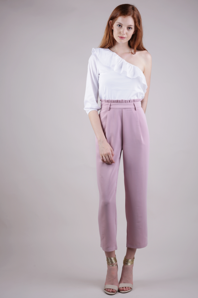 Londoner Paperbag Pants (Mauve Pink)