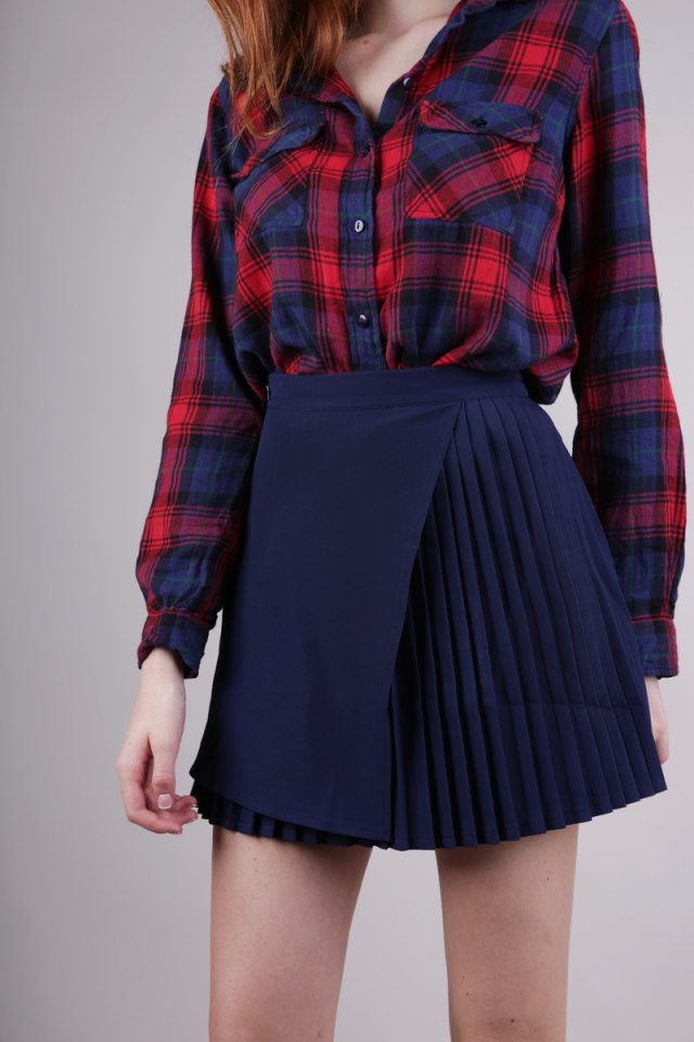 Wilson Pleated Skirt (Navy)