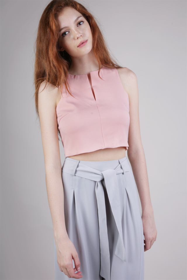 Ava Slit Front Top (Pink)