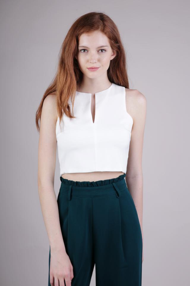 Ava Slit Front Top (White)