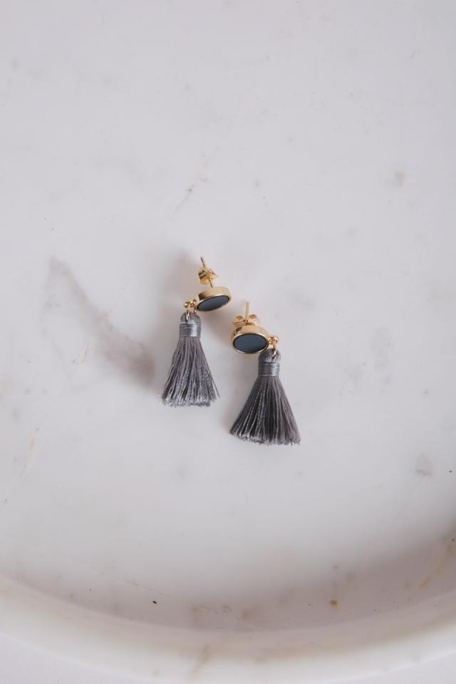 Tacai Round Tassel Earrings (Grey)