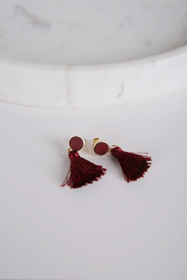 Tacai Round Tassel Earrings (Red)