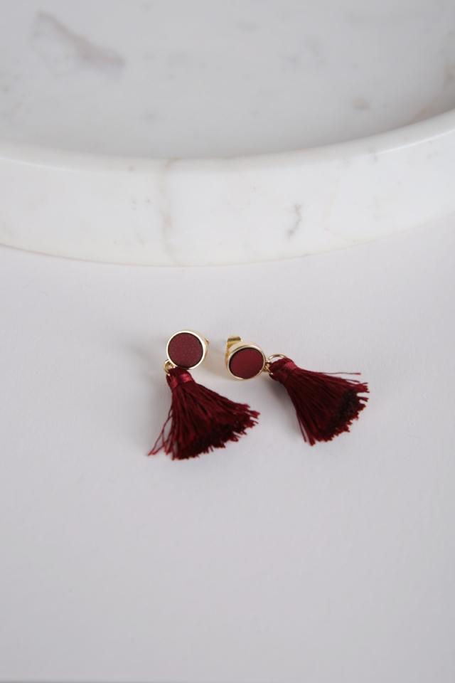 Tacai Round Tassel Earrings (Red)