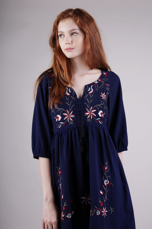 Tippy Embroidery Sleeved Dress (Navy)