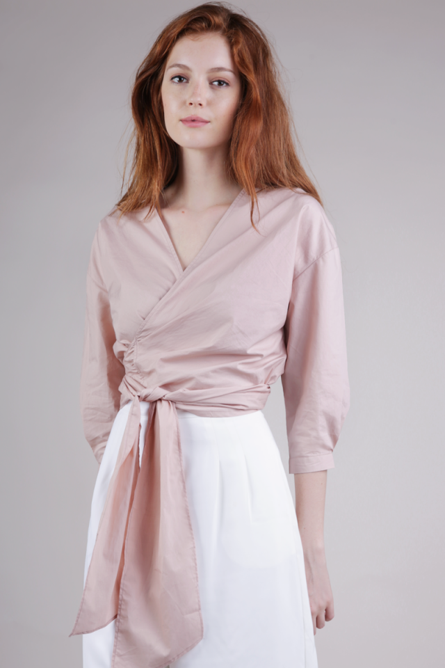 Raphael Wrap Top (Pale Rose)