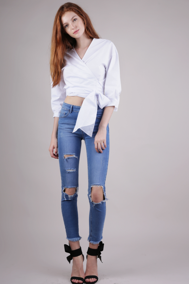 Raphael Wrap Top (White)