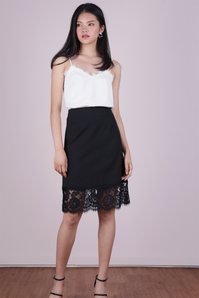 Ana Lace Hem Midi Skirt (Black)