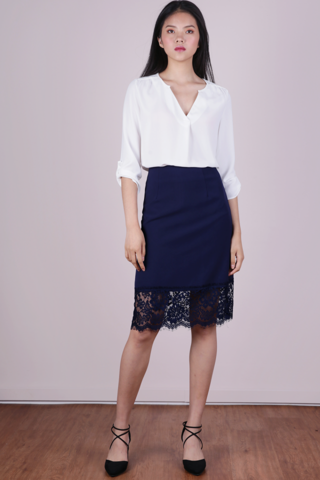 Ana Lace Hem Midi Skirt (Navy)