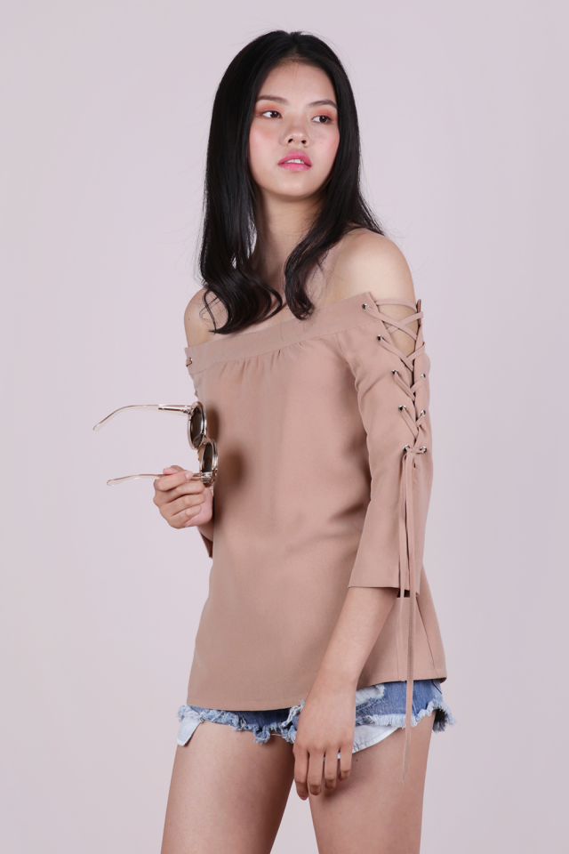 Bri Lace Up Top (Nude)