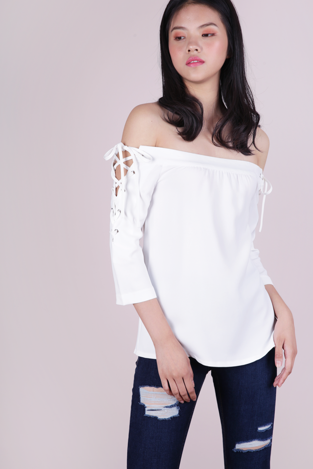 Bri Lace Up Top (White)