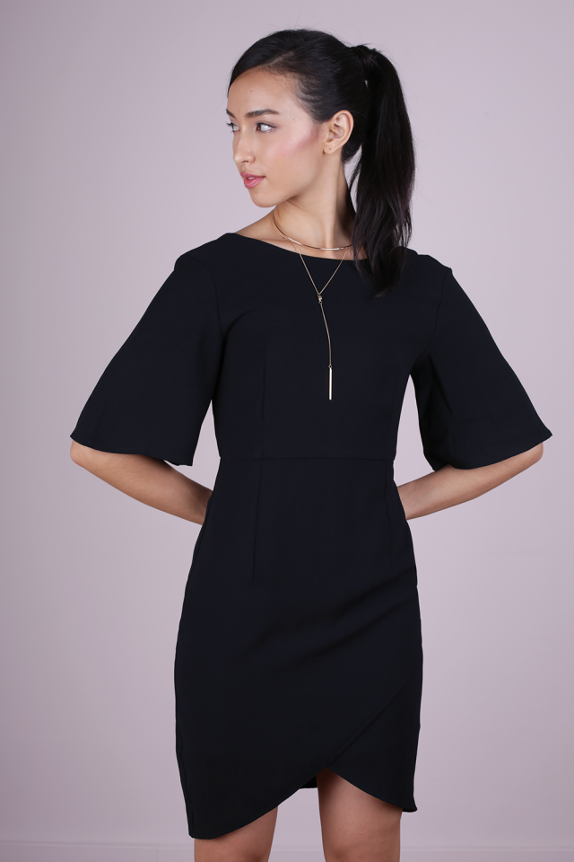 Sierra Sleeved Dress (Black)