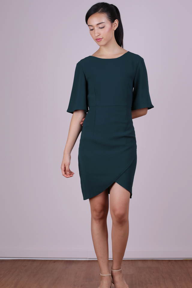 Sierra Sleeved Dress (Forest Green)