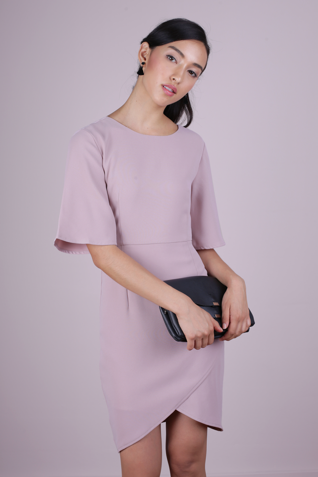 Sierra Sleeved Dress (Mauve Pink)