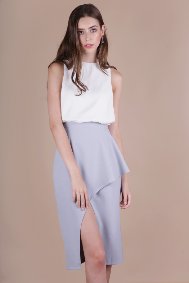 Fion Waterfall Slit Skirt (Lilac Grey)