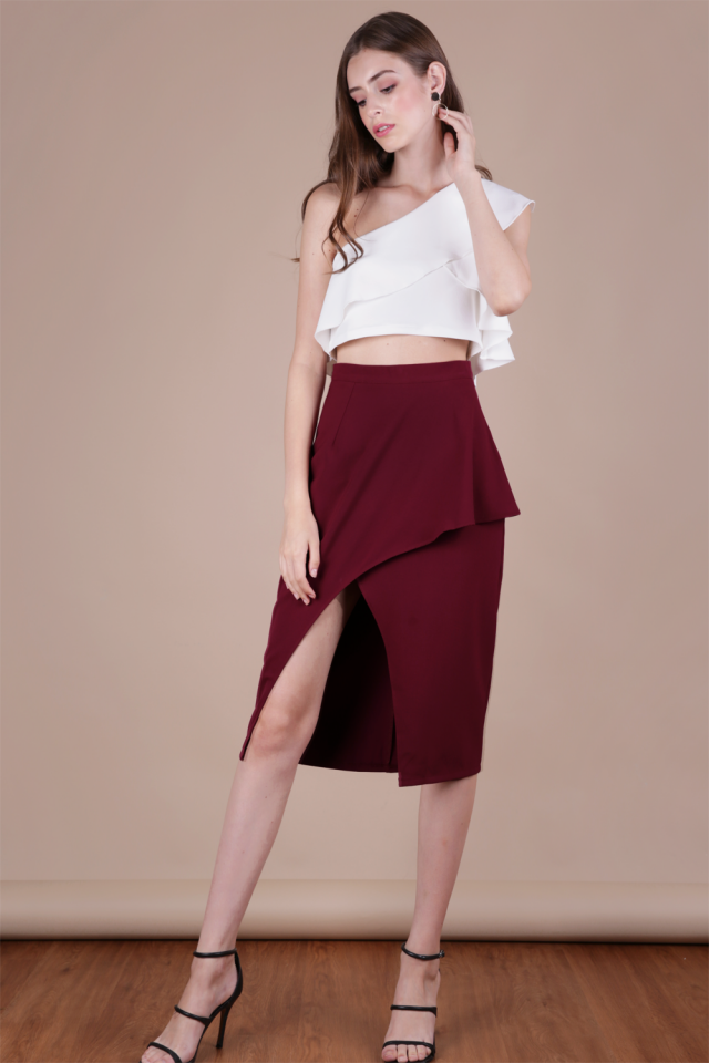 Fion Waterfall Slit Skirt (Burgundy)