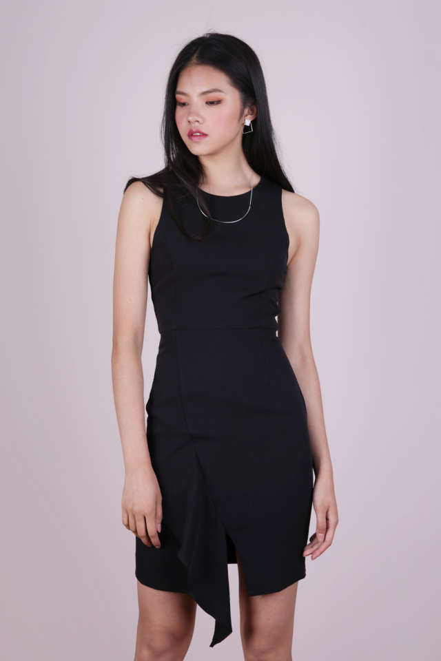 Fran Ruffles Shift Dress (Black)