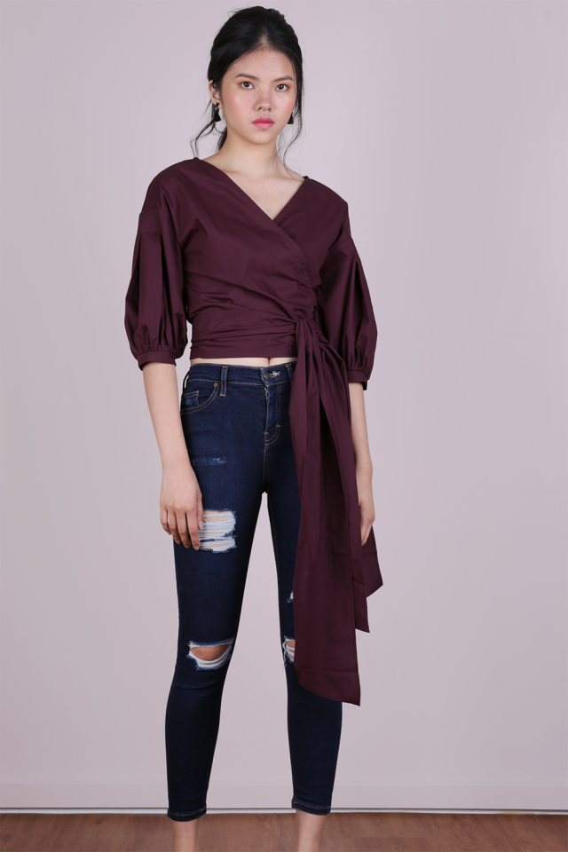 Minx Wrap Blouse (Plum)