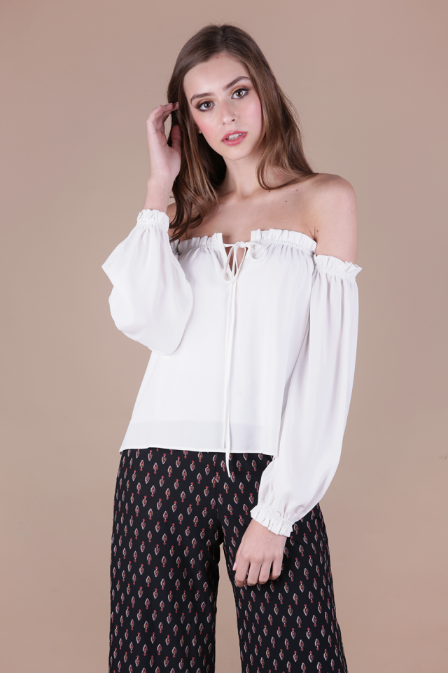 Aden Ruffles Top (White)