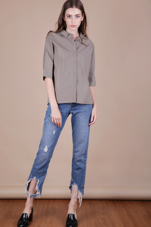Loni Structured Shirt (Taupe)