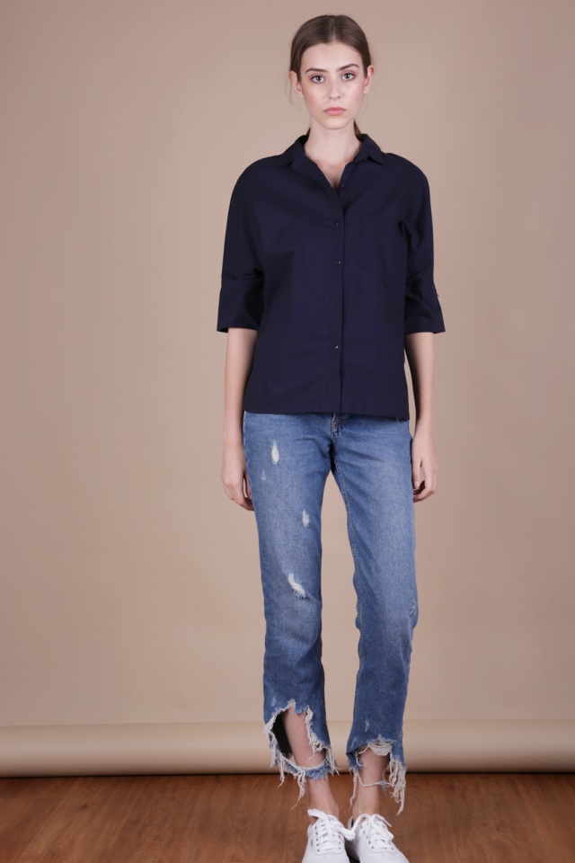 Loni Structured Shirt (Navy)