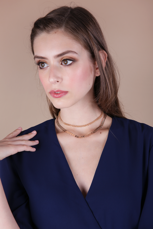 Saig Metal Choker Set (Gold)